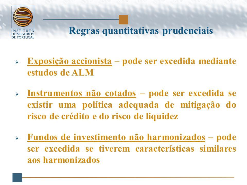 Regras quantitativas prudenciais  Exposição accionista – pode ser excedida mediante estudos de ALM  Instrumentos não cotados – pode ser excedida se existir uma política adequada de mitigação do risco de crédito e do risco de liquidez  Fundos de investimento não harmonizados – pode ser excedida se tiverem características similares aos harmonizados