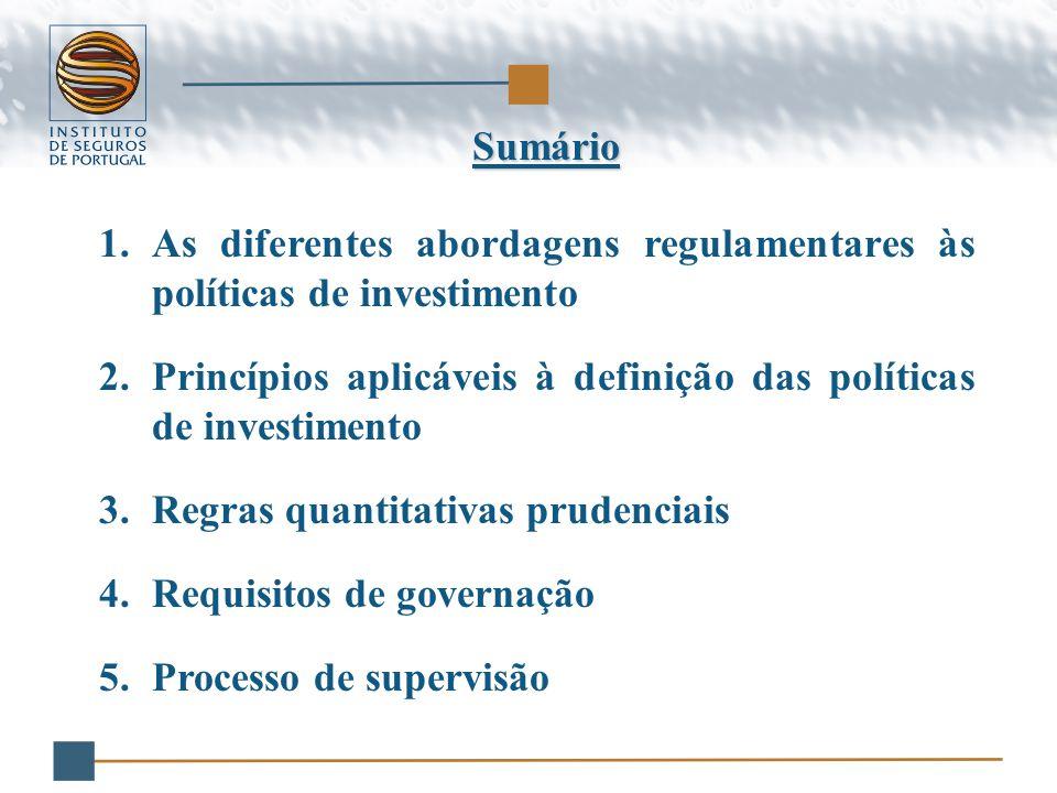 Sumário 1.As diferentes abordagens regulamentares às políticas de investimento 2.Princípios aplicáveis à definição das políticas de investimento 3.Regras quantitativas prudenciais 4.Requisitos de governação 5.Processo de supervisão