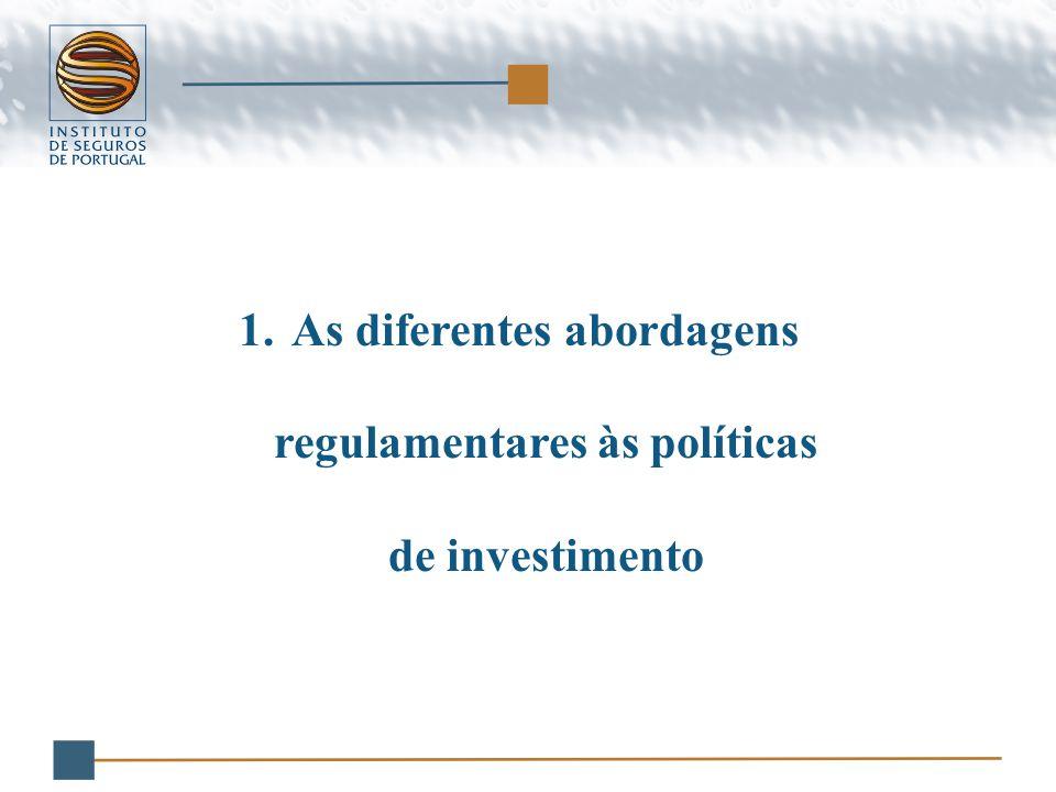 1.As diferentes abordagens regulamentares às políticas de investimento