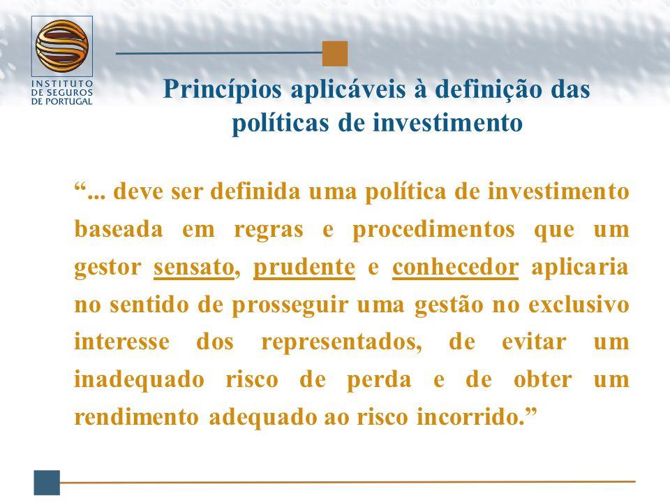 Princípios aplicáveis à definição das políticas de investimento ...