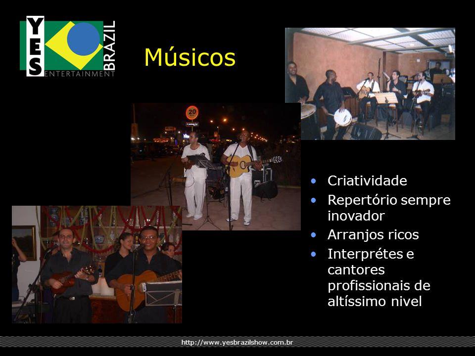 http://www.yesbrazilshow.com.br Músicos Criatividade Repertório sempre inovador Arranjos ricos Interprétes e cantores profissionais de altíssimo nivel
