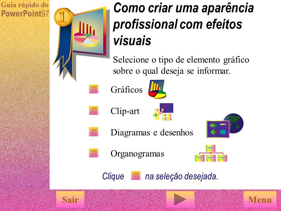Use o comando 'Esquema de cores' no menu 'Formatar' para coordenar as cores nas apresentações. Esquema de cores Clique no esquema de cores desejado na