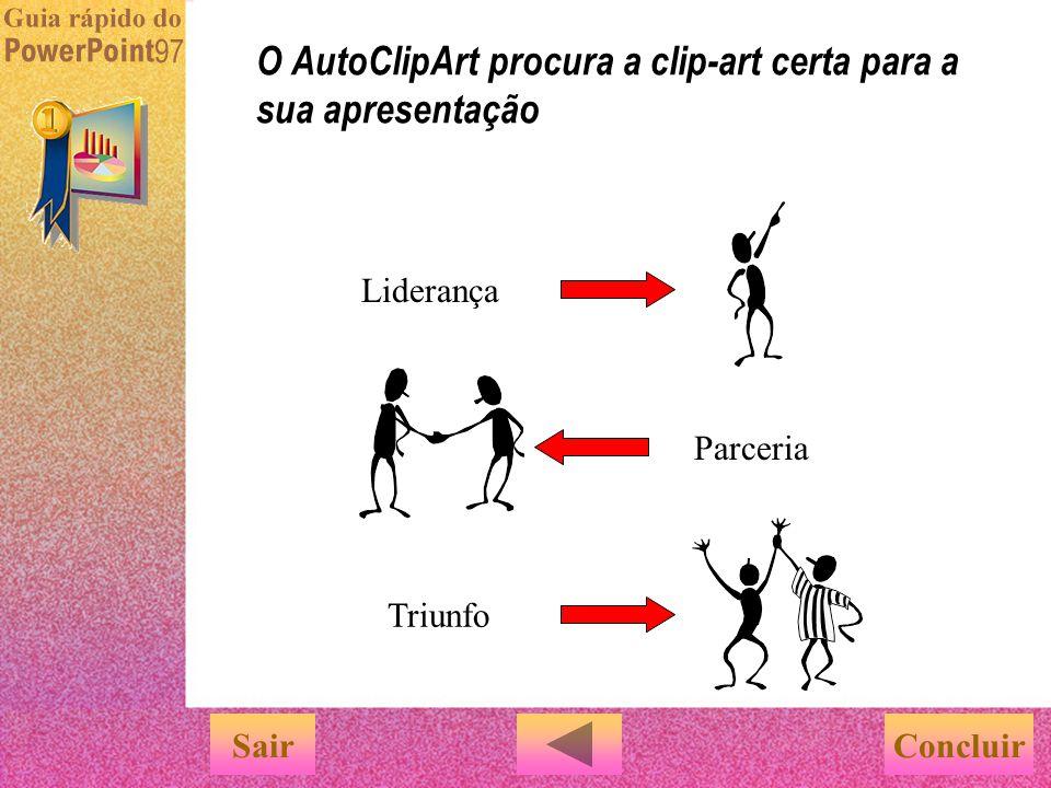 Deseja que o PowerPoint sugira clip-arts que combinem com o conteúdo do slide? Experimente usar o comando 'AutoClipArt' no menu 'Ferramentas'. É muito