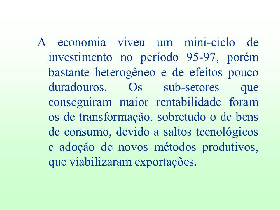 A economia viveu um mini-ciclo de investimento no período 95-97, porém bastante heterogêneo e de efeitos pouco duradouros. Os sub-setores que consegui