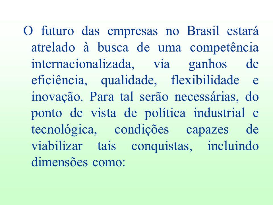 O futuro das empresas no Brasil estará atrelado à busca de uma competência internacionalizada, via ganhos de eficiência, qualidade, flexibilidade e in