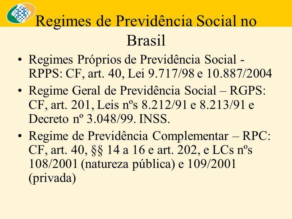 Regimes de Previdência Social no Brasil Regimes Próprios de Previdência Social - RPPS: CF, art.