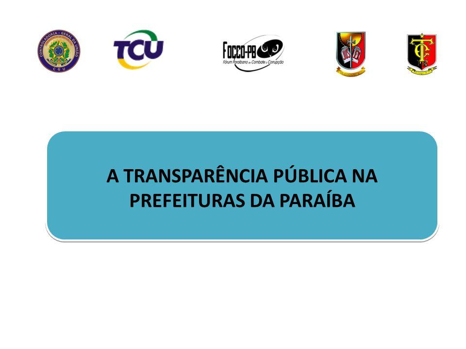 A TRANSPARÊNCIA PÚBLICA NA PREFEITURAS DA PARAÍBA