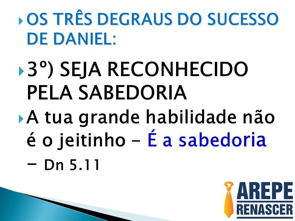  OS TRÊS DEGRAUS DO SUCESSO DE DANIEL:  3º) SEJA RECONHECIDO PELA SABEDORIA  A tua grande habilidade não é o jeitinho - É a sabedo ria - Dn 5.11