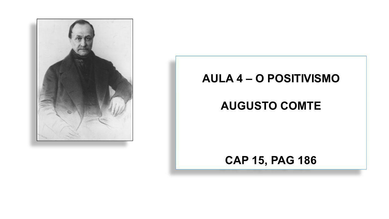 AULA 4 – O POSITIVISMO AUGUSTO COMTE CAP 15, PAG 186 AULA 4 – O POSITIVISMO AUGUSTO COMTE CAP 15, PAG 186