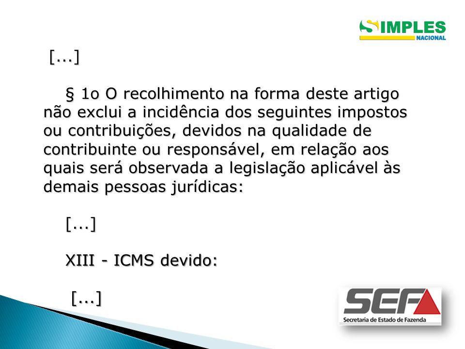 [...] [...] § 1o O recolhimento na forma deste artigo não exclui a incidência dos seguintes impostos ou contribuições, devidos na qualidade de contrib