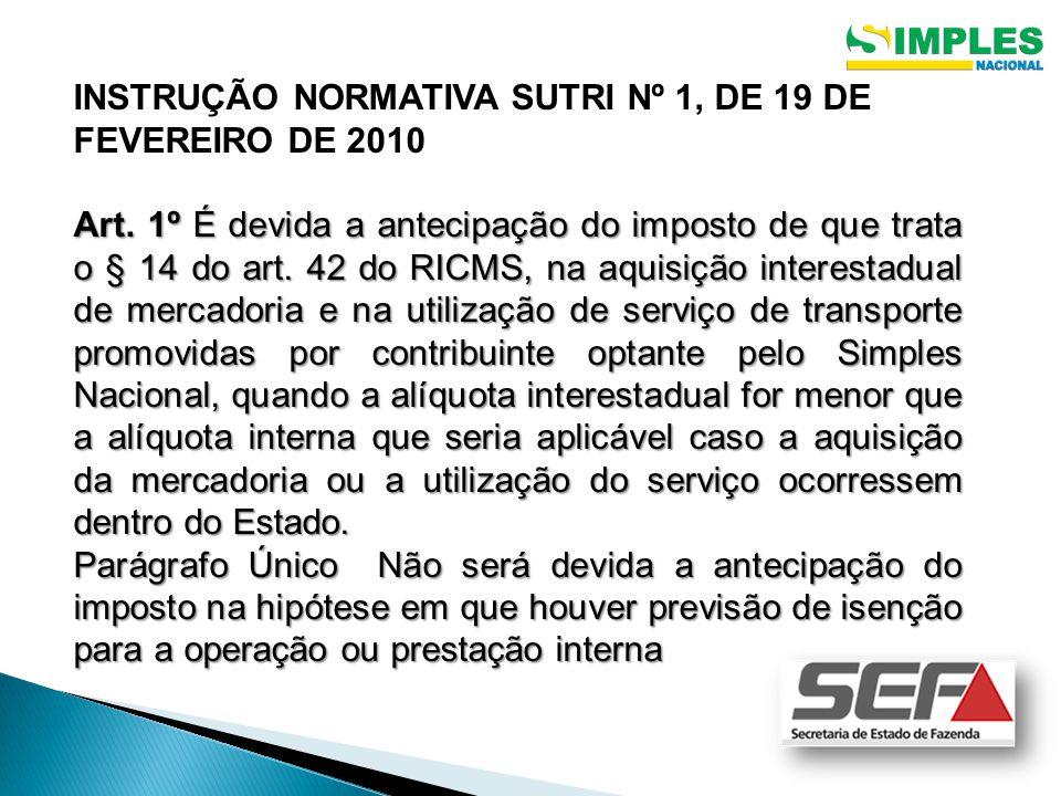 INSTRUÇÃO NORMATIVA SUTRI Nº 1, DE 19 DE FEVEREIRO DE 2010 Art.