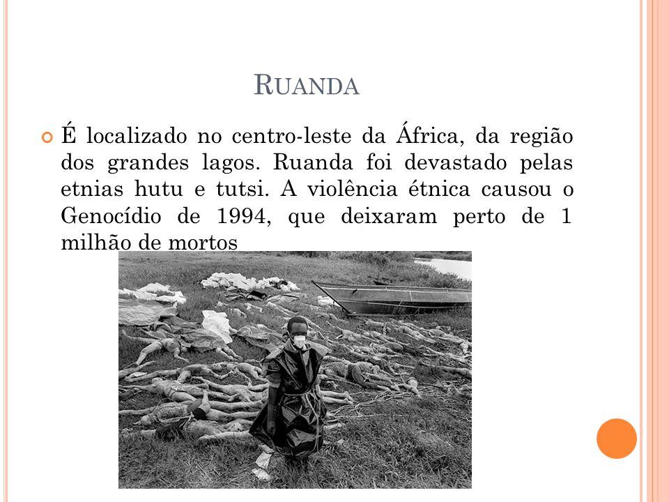 R UANDA É localizado no centro-leste da África, da região dos grandes lagos. Ruanda foi devastado pelas etnias hutu e tutsi. A violência étnica causou