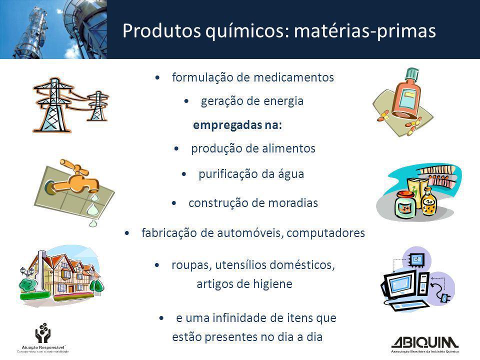 Produtos químicos: matérias-primas empregadas na: formulação de medicamentos geração de energia produção de alimentos purificação da água construção d