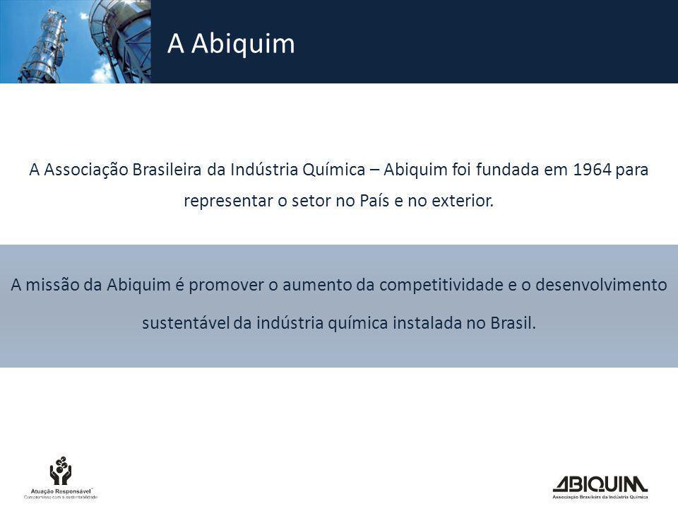 A Abiquim A Associação Brasileira da Indústria Química – Abiquim foi fundada em 1964 para representar o setor no País e no exterior. A missão da Abiqu