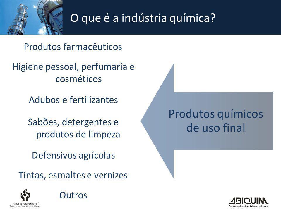 Produtos químicos de uso final Produtos farmacêuticos Higiene pessoal, perfumaria e cosméticos Adubos e fertilizantes Defensivos agrícolas Sabões, det