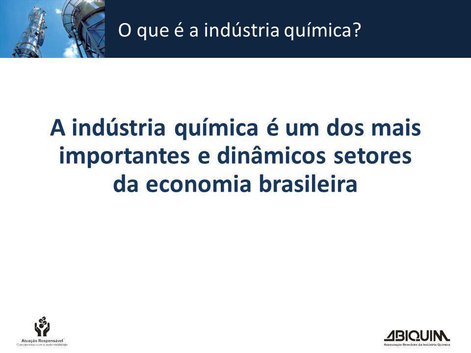 Dimensão da indústria química no Brasil Faturamento líquido da indústria química brasileira – 2010* Total US$ 130,2 bilhões* * estimado Fontes: Abiquim e associações dos segmentos Em 2010, a indústria química teve participação de 2,4% no PIB brasileiro.