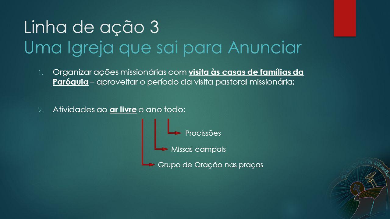 3.Provocar pastorais e movimentos a fazerem reuniões nas casas das famílias de sua paróquia; 4.