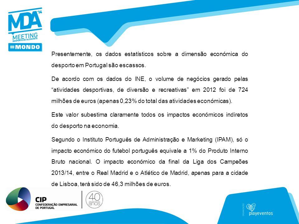 Presentemente, os dados estatísticos sobre a dimensão económica do desporto em Portugal são escassos.