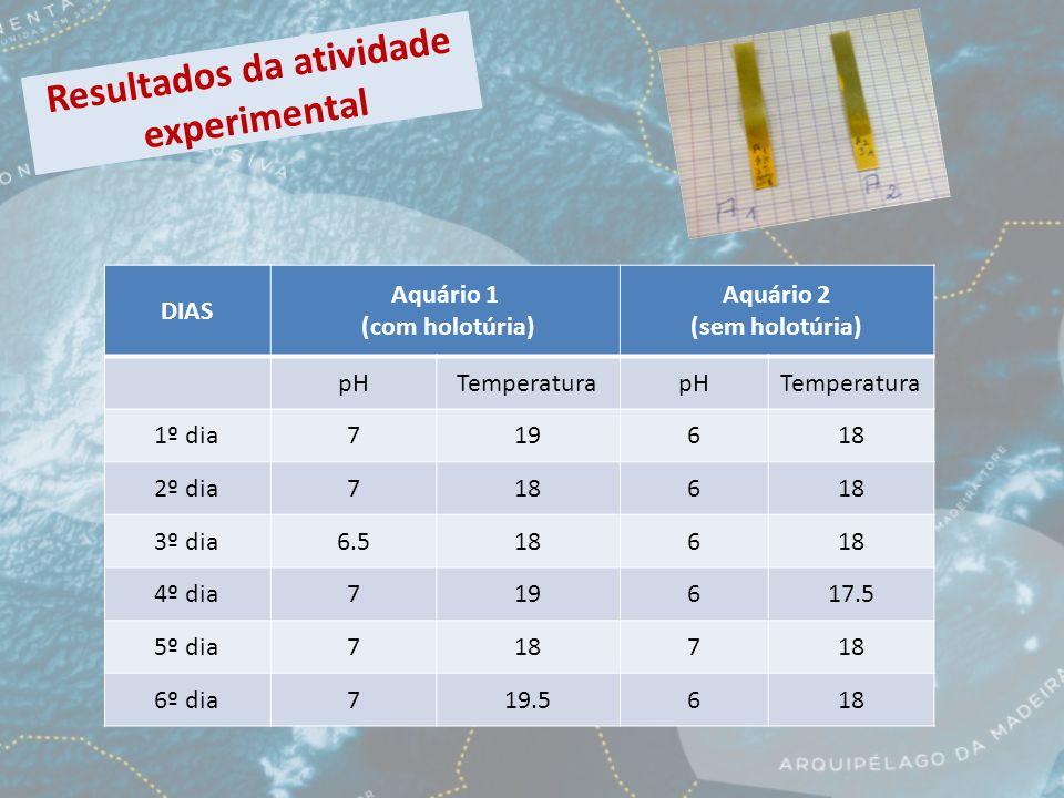 Resultados da atividade experimental DIAS Aquário 1 (com holotúria) Aquário 2 (sem holotúria) pHTemperaturapHTemperatura 1º dia719618 2º dia7186 3º dia6.5186 4º dia719617.5 5º dia7187 6º dia719.5618