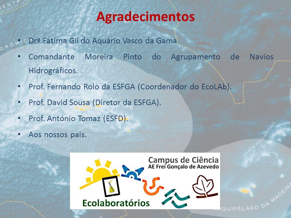 Agradecimentos Drª Fátima Gil do Aquário Vasco da Gama. Comandante Moreira Pinto do Agrupamento de Navios Hidrográficos. Prof. Fernando Rolo da ESFGA