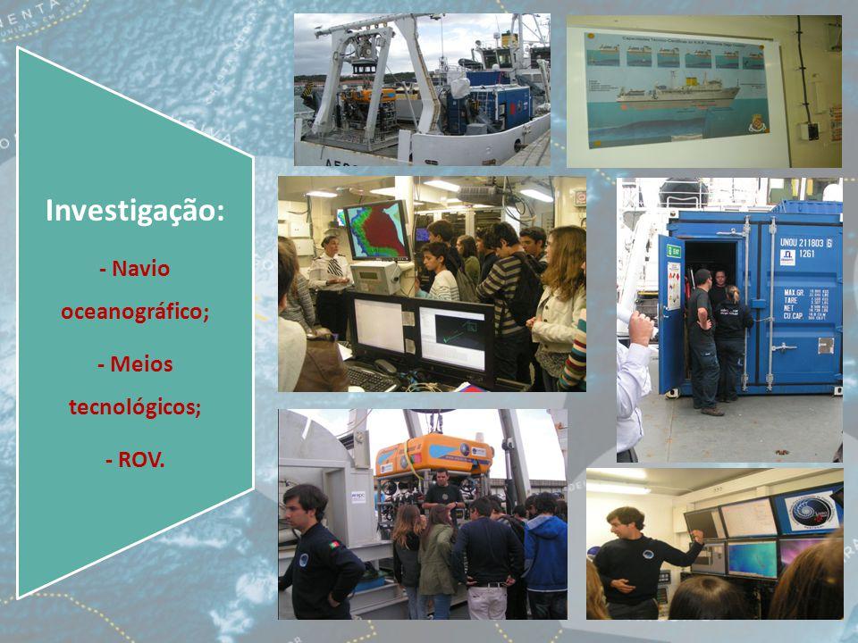 Investigação: - Navio oceanográfico; - Meios tecnológicos; - ROV.