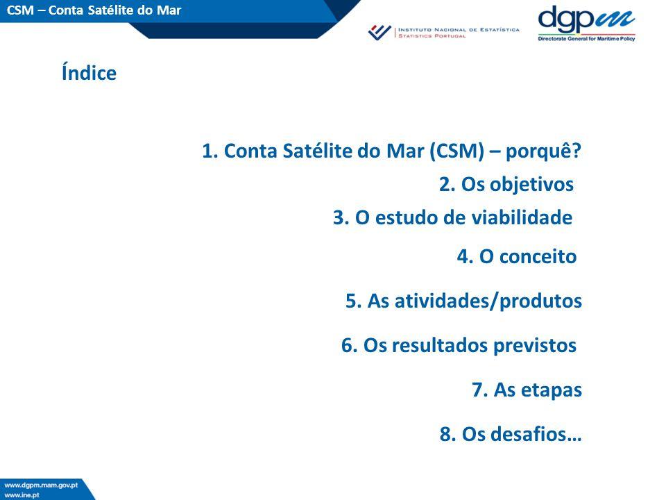 Índice CSM – Conta Satélite do Mar 1. Conta Satélite do Mar (CSM) – porquê? 2. Os objetivos 3. O estudo de viabilidade 4. O conceito 5. As atividades/