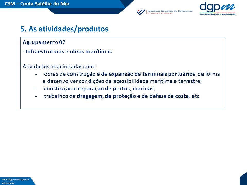 Agrupamento 07 - Infraestruturas e obras marítimas Atividades relacionadas com: - obras de construção e de expansão de terminais portuários, de forma