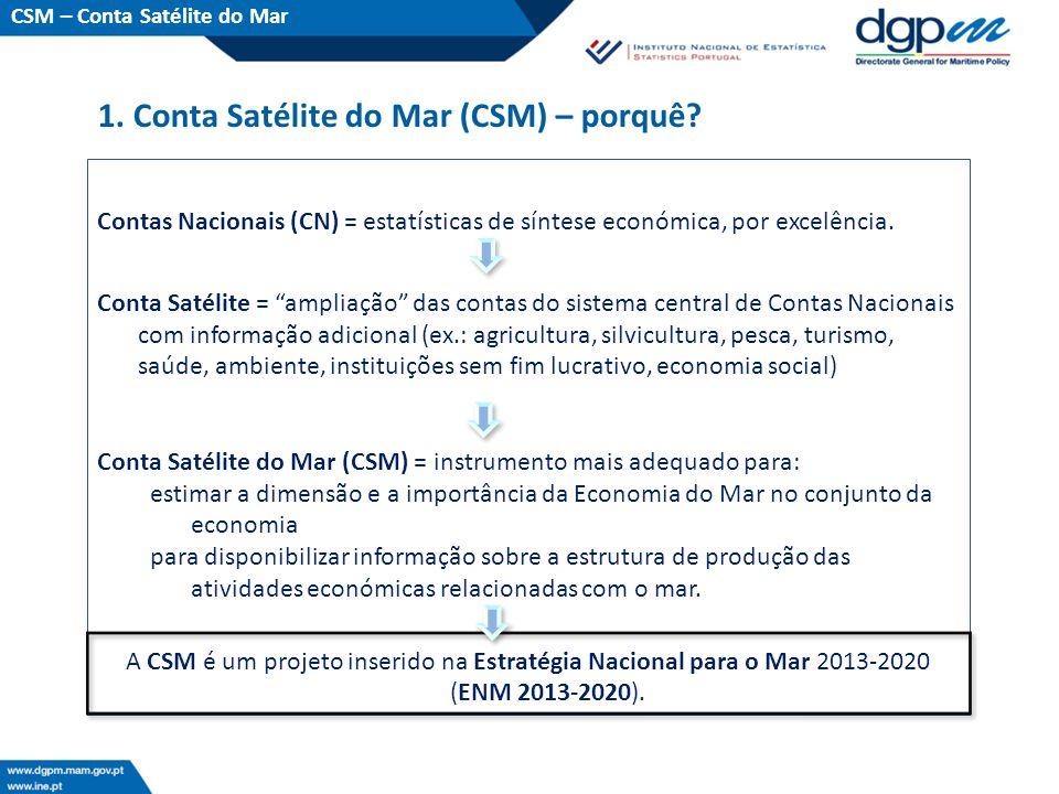 O protocolo: A Direção-Geral de Política do Mar (DGPM), pertencente ao Ministério da Agricultura e do Mar (MAM), e o Instituto Nacional de Estatística (INE), assinaram um Protocolo para a elaboração de uma Conta Satélite do Mar (CSM), em junho de 2013, com o objetivo de avaliar a viabilidade de implementação de uma CSM em Portugal.