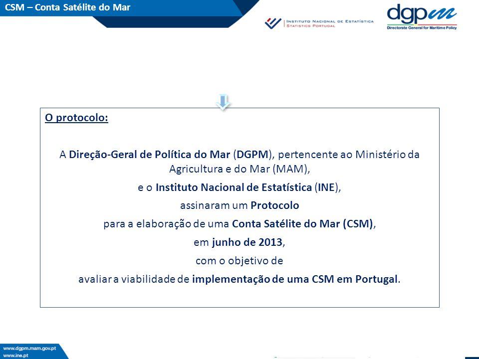 O protocolo: A Direção-Geral de Política do Mar (DGPM), pertencente ao Ministério da Agricultura e do Mar (MAM), e o Instituto Nacional de Estatística