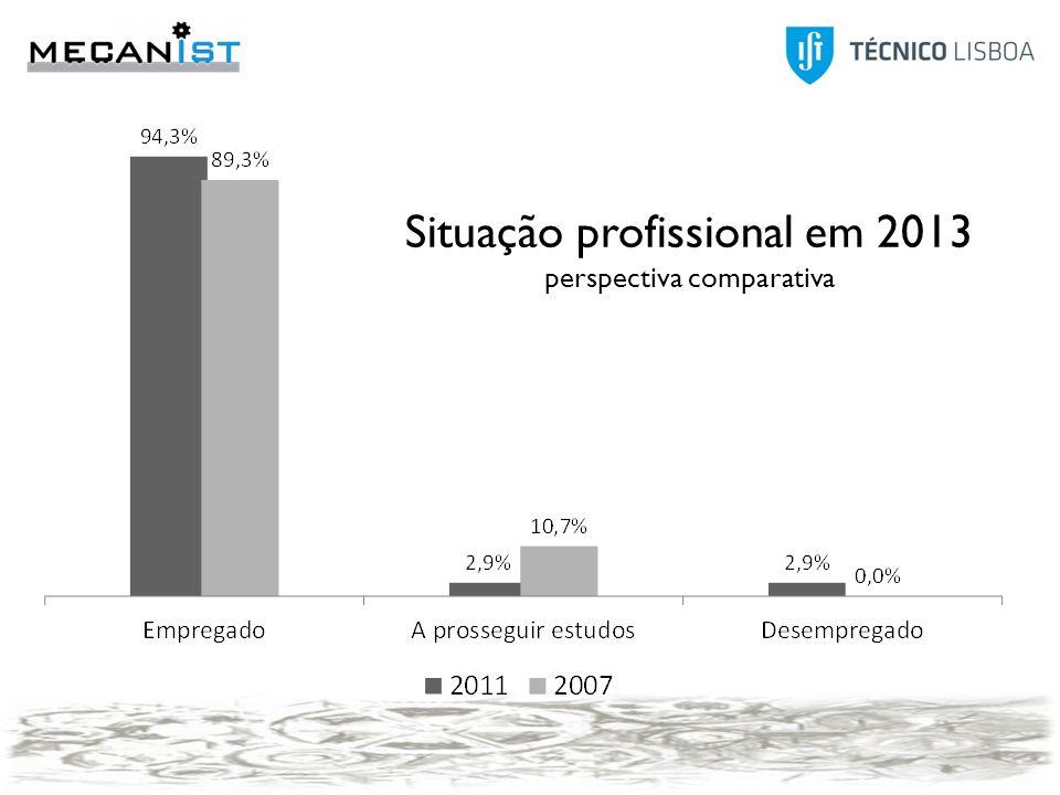 Situação profissional em 2013 perspectiva comparativa