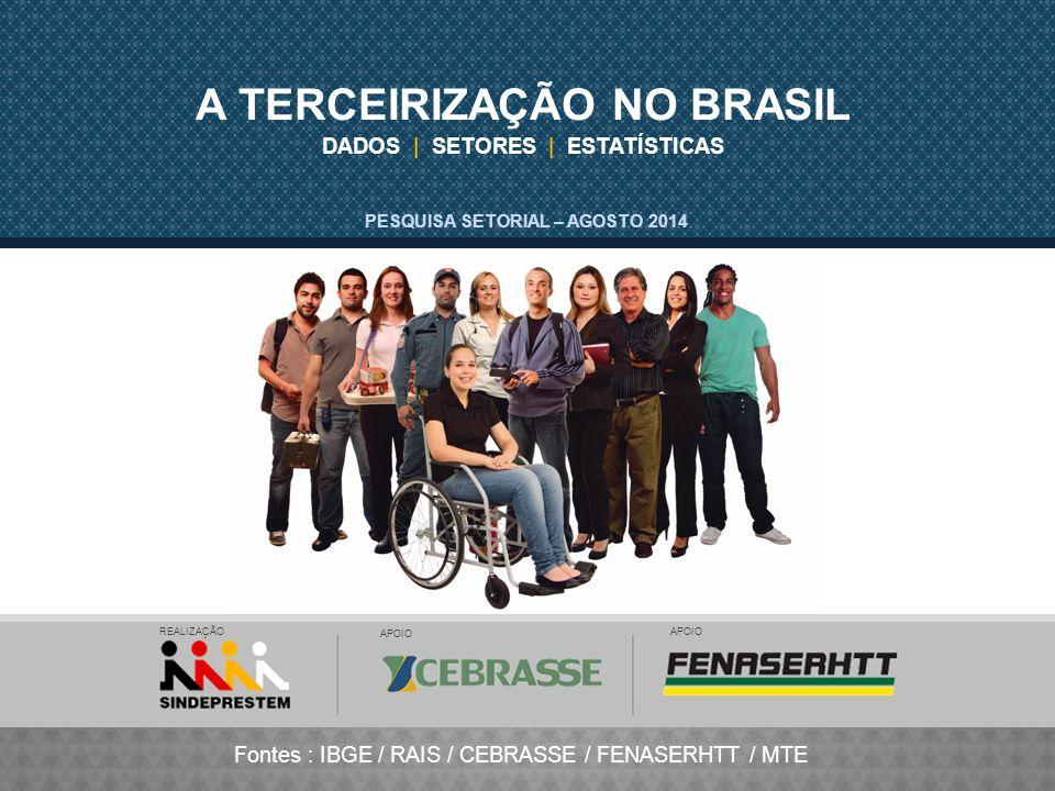 DADOS | SETORES | ESTATÍSTICAS A TERCEIRIZAÇÃO NO BRASIL Fontes : IBGE / RAIS / CEBRASSE / FENASERHTT / MTE PESQUISA SETORIAL – AGOSTO 2014 REALIZAÇÃO