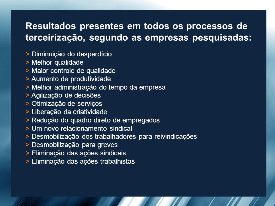 Resultados presentes em todos os processos de terceirização, segundo as empresas pesquisadas: > Diminuição do desperdício > Melhor qualidade > Maior c