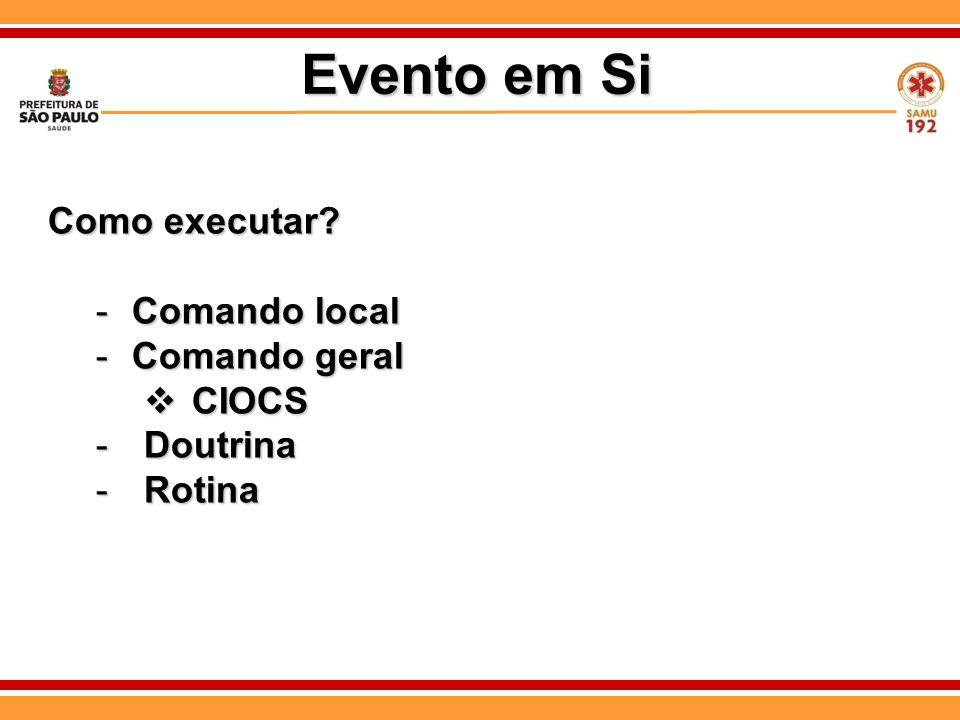 Como executar? -Comando local -Comando geral  CIOCS -Doutrina -Rotina Evento em Si