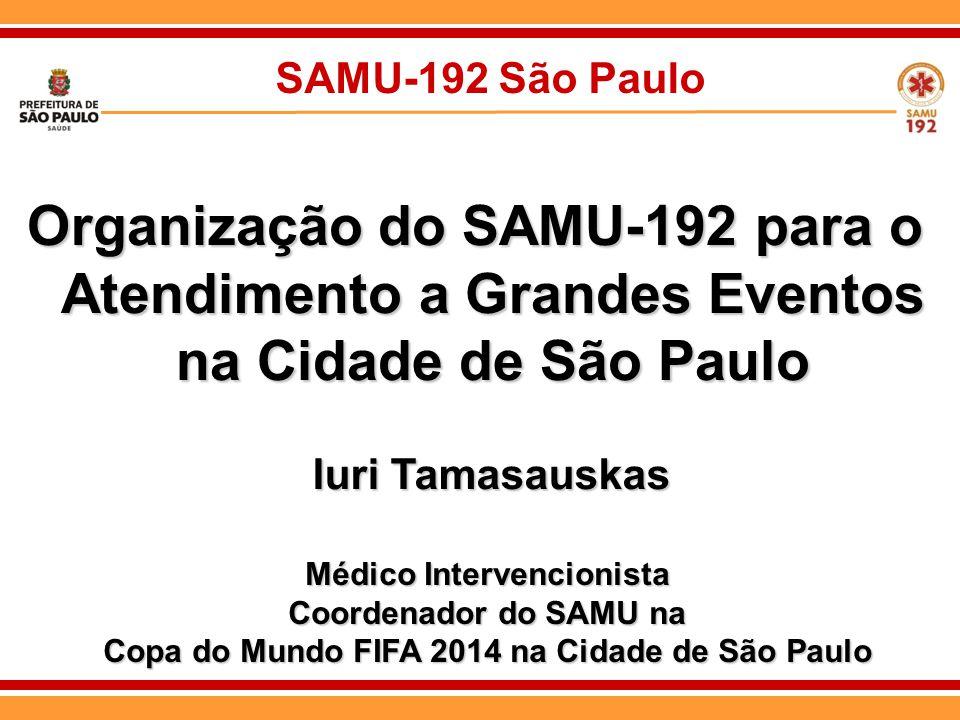 SAMU-192 São Paulo Organização do SAMU-192 para o Atendimento a Grandes Eventos na Cidade de São Paulo Iuri Tamasauskas Médico Intervencionista Coorde