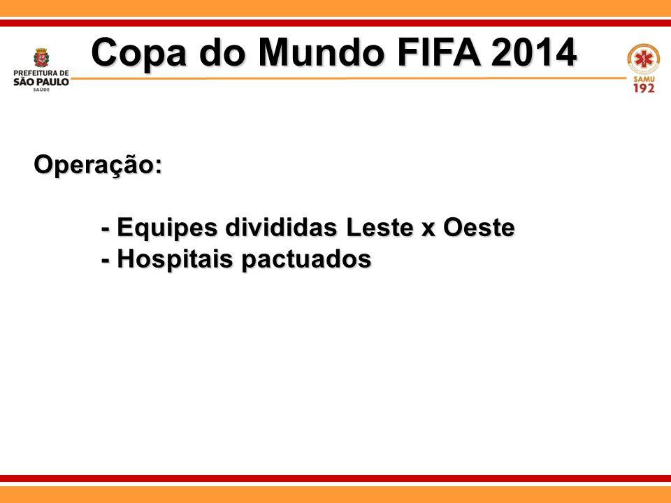 Operação: - Equipes divididas Leste x Oeste - Hospitais pactuados Copa do Mundo FIFA 2014
