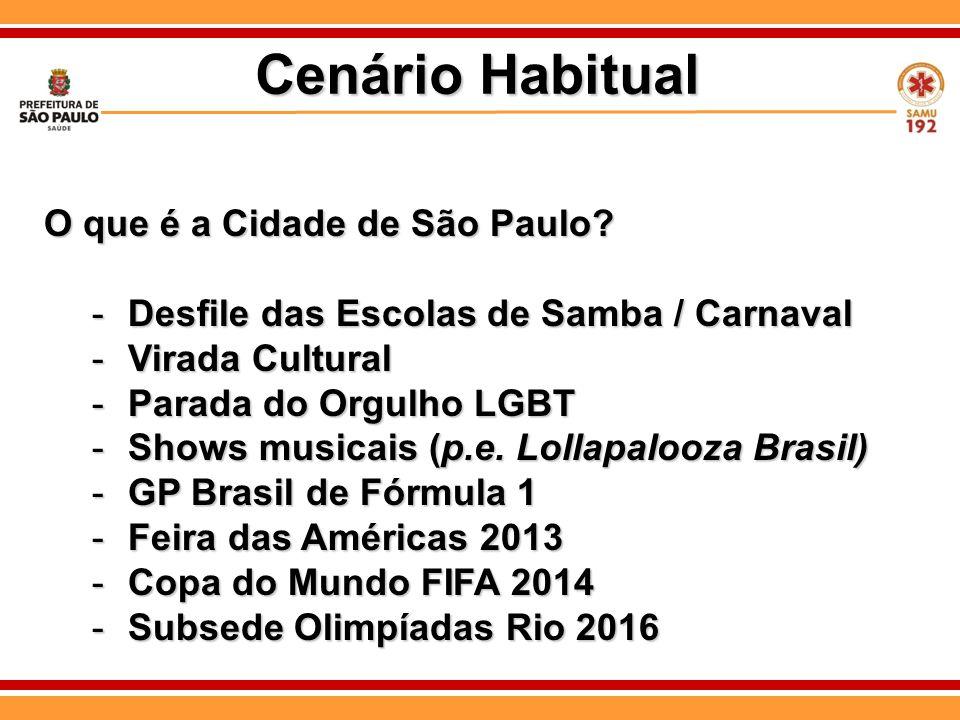 O que é a Cidade de São Paulo? -Desfile das Escolas de Samba / Carnaval -Virada Cultural -Parada do Orgulho LGBT -Shows musicais (p.e. Lollapalooza Br