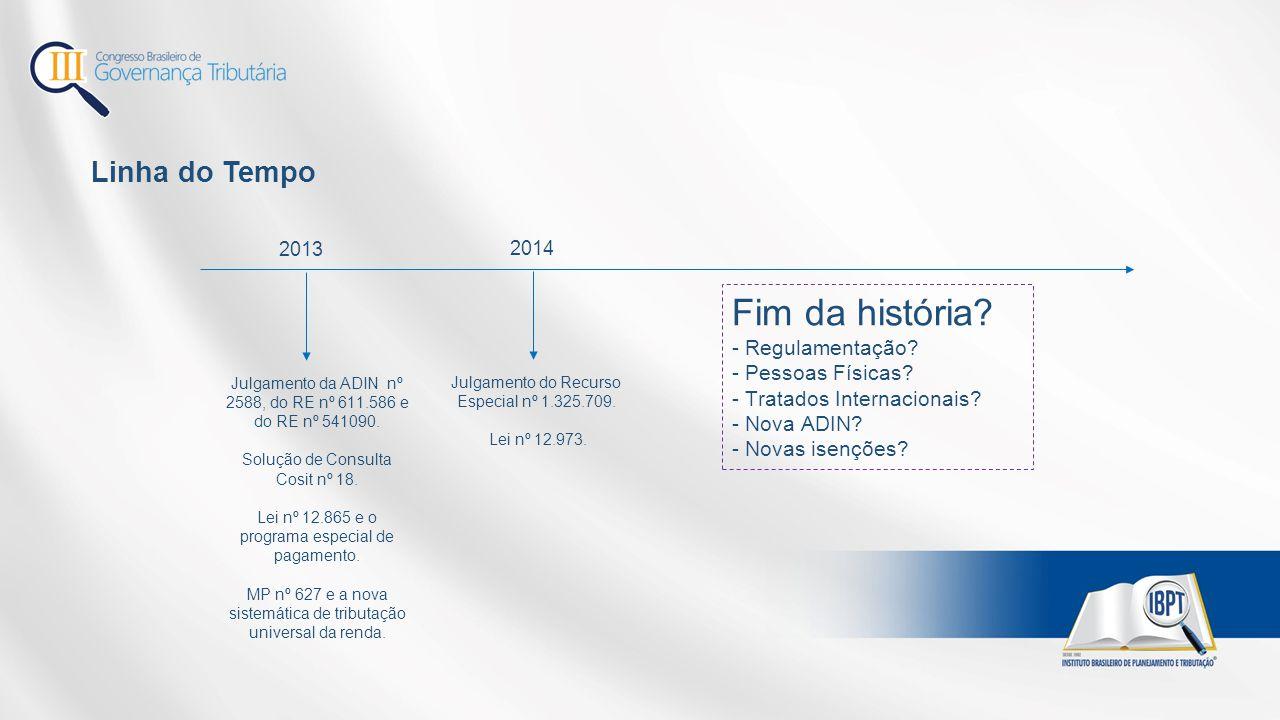 Linha do Tempo 2013 Julgamento da ADIN nº 2588, do RE nº 611.586 e do RE nº 541090. Solução de Consulta Cosit nº 18. Lei nº 12.865 e o programa especi