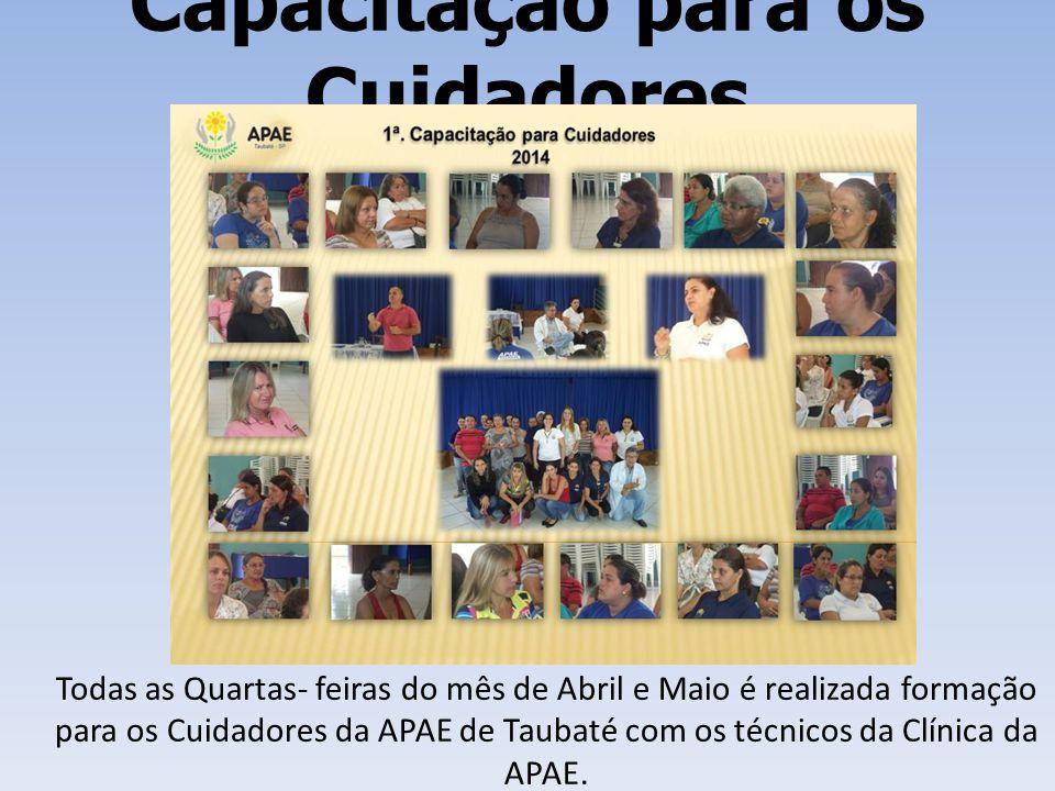 Capacitação para os Cuidadores Todas as Quartas- feiras do mês de Abril e Maio é realizada formação para os Cuidadores da APAE de Taubaté com os técni