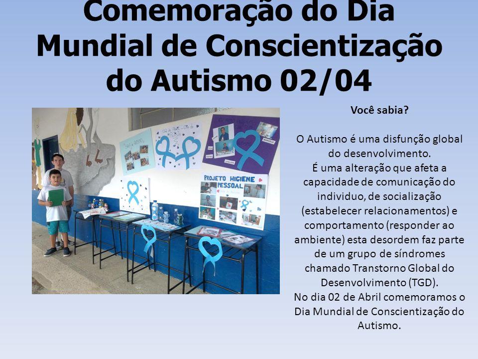 Comemoração do Dia Mundial de Conscientização do Autismo 02/04 Você sabia? O Autismo é uma disfunção global do desenvolvimento. É uma alteração que af