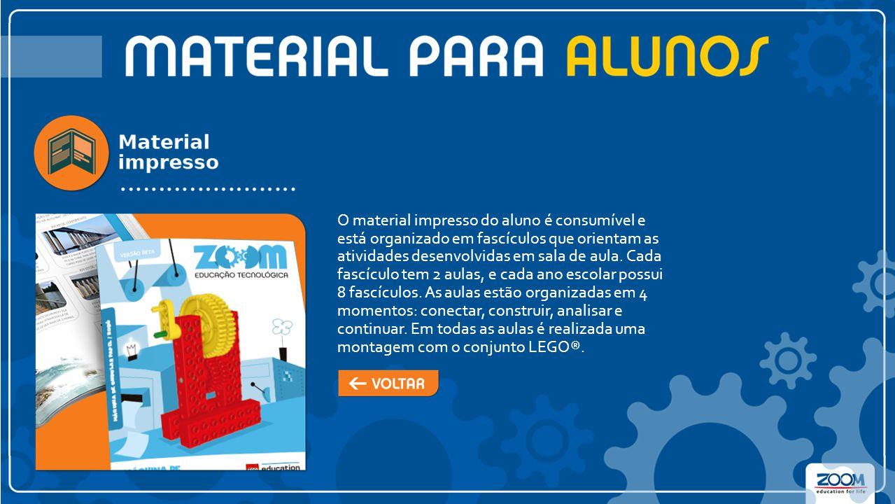 O material impresso do aluno é consumível e está organizado em fascículos que orientam as atividades desenvolvidas em sala de aula.