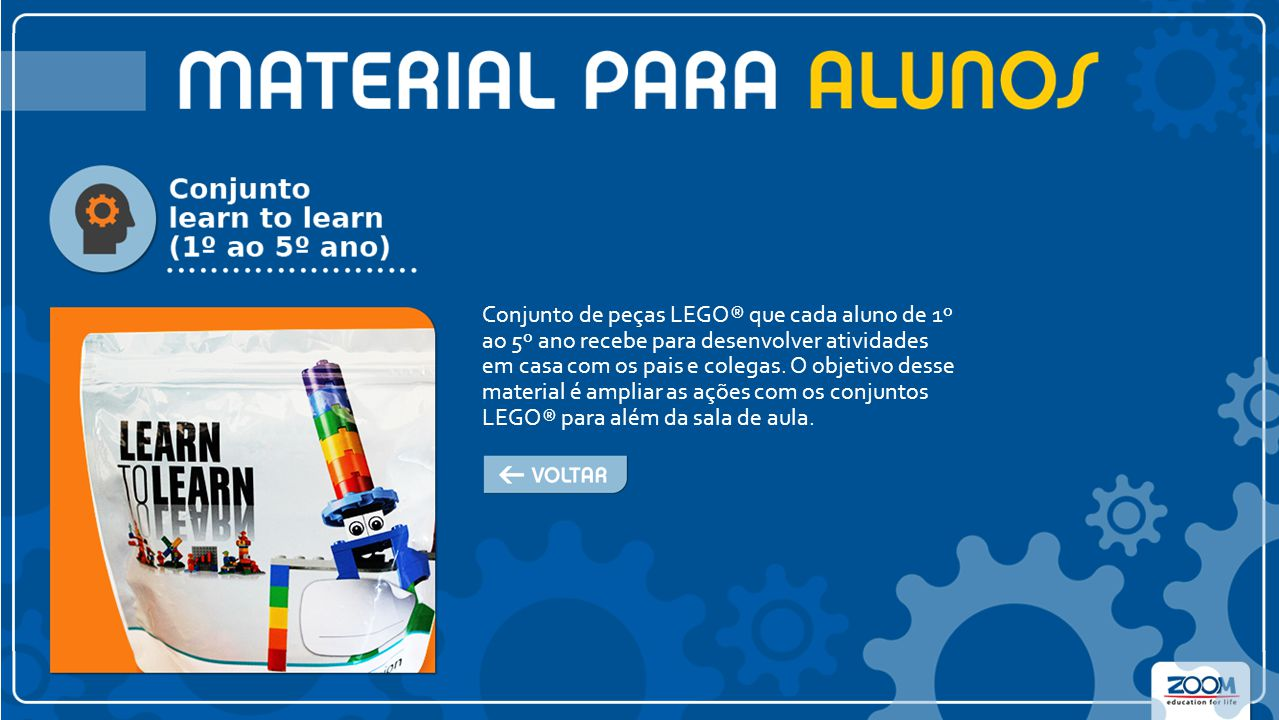Conjunto de peças LEGO® que cada aluno de 1º ao 5º ano recebe para desenvolver atividades em casa com os pais e colegas.