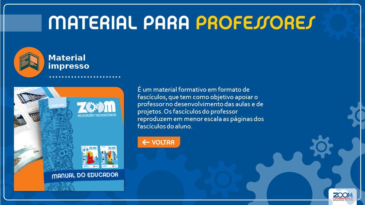 É um material formativo em formato de fascículos, que tem como objetivo apoiar o professor no desenvolvimento das aulas e de projetos.