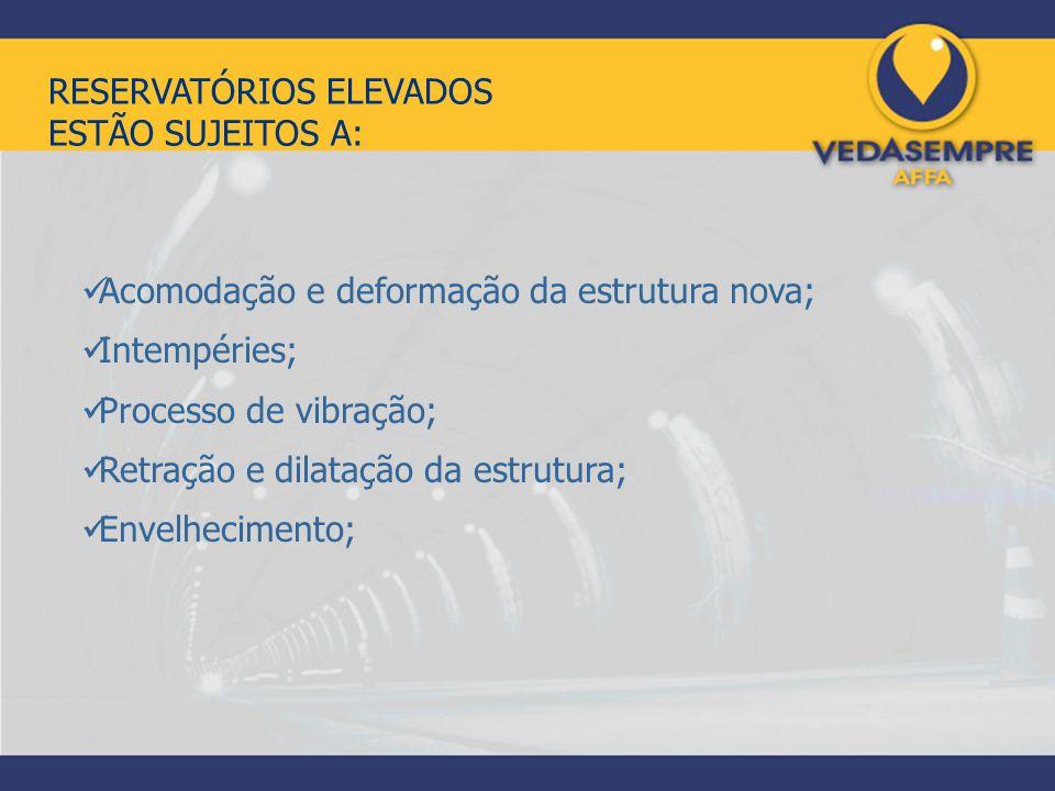 RESERVATÓRIOS ELEVADOS ESTÃO SUJEITOS A: Acomodação e deformação da estrutura nova; Intempéries; Processo de vibração; Retração e dilatação da estrutu
