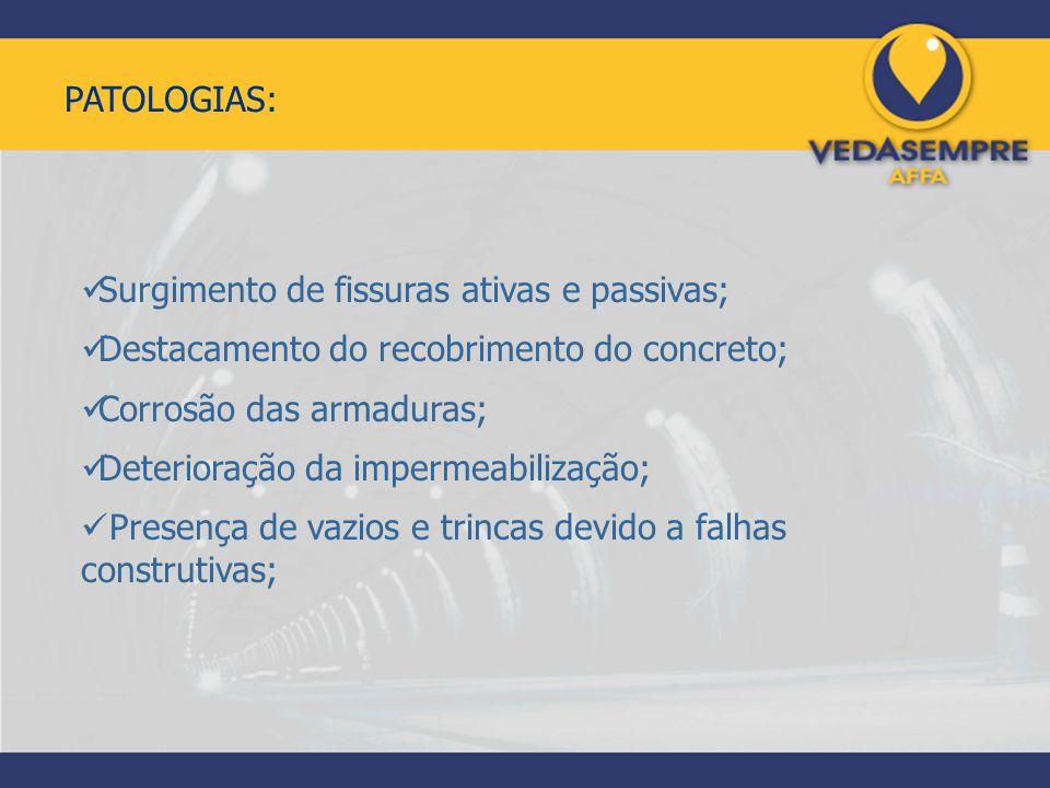 PATOLOGIAS: Surgimento de fissuras ativas e passivas; Destacamento do recobrimento do concreto; Corrosão das armaduras; Deterioração da impermeabiliza