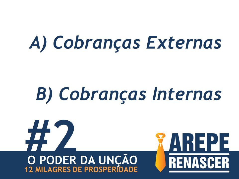 A) Cobranças Externas B) Cobranças Internas #2 12 MILAGRES DE PROSPERIDADE O PODER DA UNÇÃO