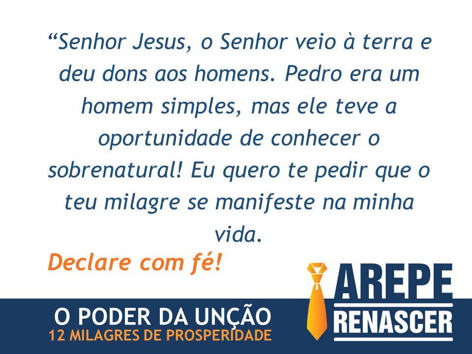 """""""Senhor Jesus, o Senhor veio à terra e deu dons aos homens. Pedro era um homem simples, mas ele teve a oportunidade de conhecer o sobrenatural! Eu que"""
