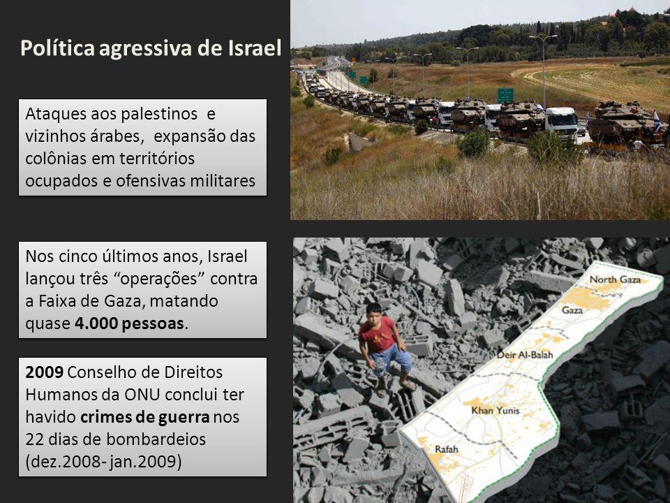 Ataques aos palestinos e vizinhos árabes, expansão das colônias em territórios ocupados e ofensivas militares Nos cinco últimos anos, Israel lançou três operações contra a Faixa de Gaza, matando quase 4.000 pessoas.
