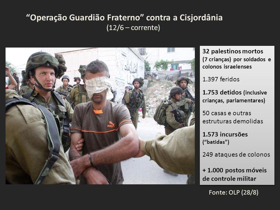 Operação Guardião Fraterno contra a Cisjordânia (12/6 – corrente) 32 palestinos mortos (7 crianças) por soldados e colonos israelenses 1.397 feridos 1.753 detidos (inclusive crianças, parlamentares) 50 casas e outras estruturas demolidas 1.573 incursões ( batidas ) 249 ataques de colonos + 1.000 postos móveis de controle militar 32 palestinos mortos (7 crianças) por soldados e colonos israelenses 1.397 feridos 1.753 detidos (inclusive crianças, parlamentares) 50 casas e outras estruturas demolidas 1.573 incursões ( batidas ) 249 ataques de colonos + 1.000 postos móveis de controle militar Fonte: OLP (28/8)