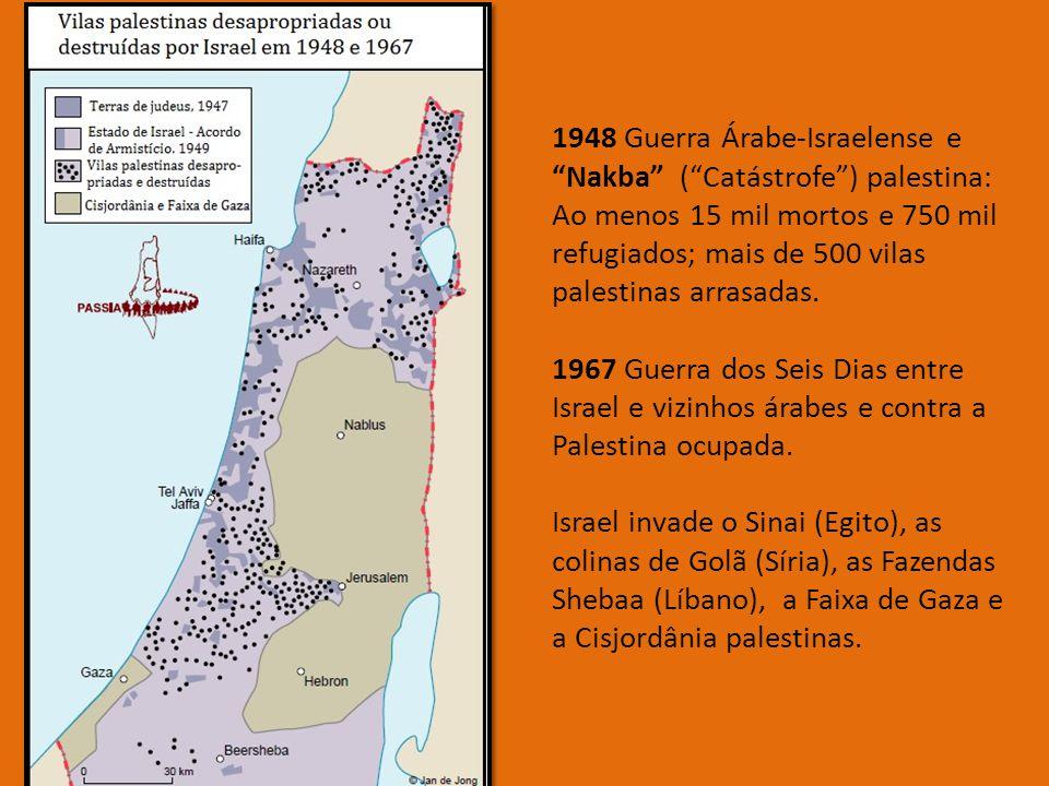 1948 Guerra Árabe-Israelense e Nakba ( Catástrofe ) palestina: Ao menos 15 mil mortos e 750 mil refugiados; mais de 500 vilas palestinas arrasadas.