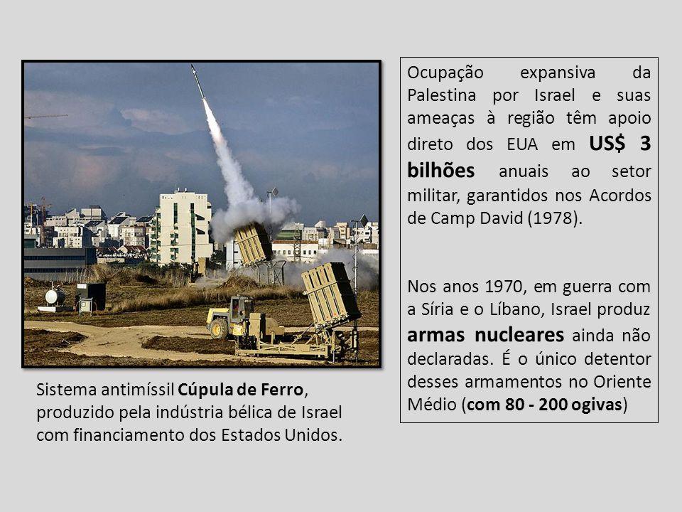 Ocupação expansiva da Palestina por Israel e suas ameaças à região têm apoio direto dos EUA em US$ 3 bilhões anuais ao setor militar, garantidos nos Acordos de Camp David (1978).